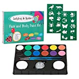 The Best Halloween Face and Body Paint Kit for Kids Ladybug & Spider - Non Toxic, Hypoallergenic, FDA Compliant | 12 Bright Colors, 1 Silver Glitter, 20 Reusable Stencils, Face Painting Guide,