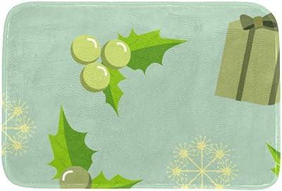 EGGDIOQ Doormats Green Gift and Grape Custom Print Bathroom Mat Waterproof Fabric Kitchen Entrance Rug, 23.6 x 15.7in