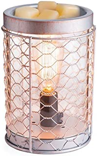 CANDLE WARMERS ETC. Edison Style Illumination Fragrance Warmer- Light-Up Warmer for Warming Scented Candle Wax Melts and Tarts or Essential Oils to Freshen Room, Chicken Wire