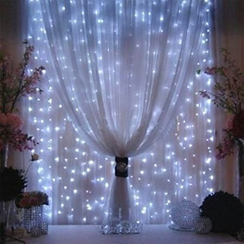 Valuetom 304 LED Twinkle String Lights Fairy Curtain Lights for Christmas Bedroom Party Wedding Garden Decoration 9.8Ft9.8Ft (White)
