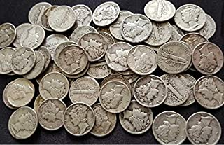 Set of 10 Mercury Dimes - 90% Silver - Date Range 1916 to 1945 (Some with Mintmarks) - Full Date and Rim - Full Liberty - Graded Fine or Better