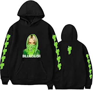 XXS-4XL Billie Eilish Hoodie Famous Singer Double Sided Printed Long Sleeve Inside Fleece Casual Pullover Hoodies Sweatshirt Jacket Top