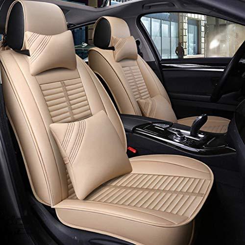 KBZW lederen autostoelhoezen set, universeel autostoelkussen, volledige stoelhoezen, set op voorstoelen achterbank 5 zitplaatsen Beige