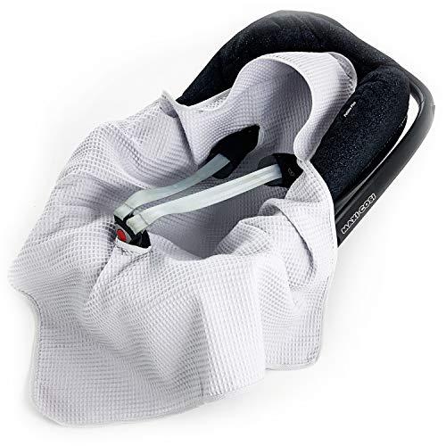 Babees Manta de gofrera de algodón para asiento de coche, universal, por ejemplo, Maxi-Cosi Römer Cybex, primavera, verano, para cochecito, portabebés, cuna sin relleno gris gris claro