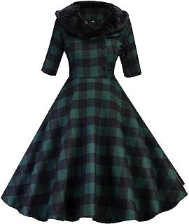 Abetteric Womens Plaid Color Splice Tunic Belt Business Skirt Suit Dress