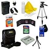 Ideal Accessory Kit for Canon Powershot Elph 300 HS - Includes: 16 GB memory card, High Capacity NB-4L Rechargeable Replacement Battery, AC/DC (home/car) Rapid Battery chatger, 50' Light Weight Aluminum Photo/Video Tripod, Protective Digital Camera Carrying Case, Mini Tabletop Tripod, Memory Card Wallet, Lens Cleaning Fluid, Cleaning Cloth, Universal Screen Protectors with Squeegee Card, 5 Cotton Swabs, HeroFiber Ultra Gentle Cleaning Cloth