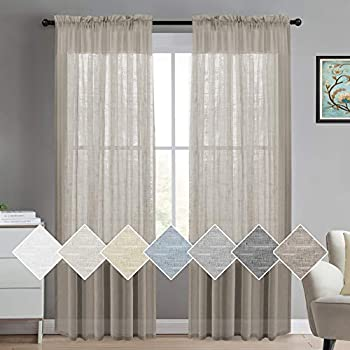 Linen Sheer Curtains for Bedroom Living Room Window Taupe Linen Window Sheer Curtains Natural Linen Blended Extra Long Curtains/Drapes 84 inches Rod Pocket 2 Panels Taupe