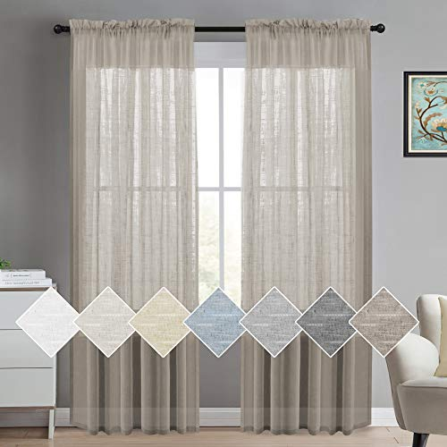 Linen Sheer Curtains Natural Linen Semi Sheer Curtains White 96 Inches Long Light Filtering Burlap Curtains 2 Panels Rod Pocket Window Treatments Panels/Drapes, Privacy Assured, Taupe