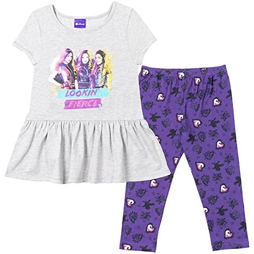 Disney Descendants Mal Evie Uma Little Girls Peplum T-Shirt Capri Legging Set Grey/Purple 4-5