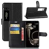 Owbb Hülle für Meizu Pro 7 Plus Ultra Schlanke Handyhülle Premium PU Ledertasche Flip Cover Wallet Case mit Stand Function Innenschlitzen Design Schwarz