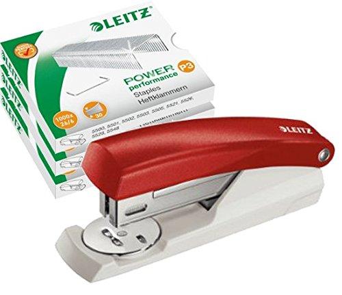 Leitz NeXXt 55010025 kleines Büroheftgerät 25 Blatt rot + 3000 Klammern 26/6