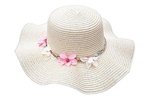 Da. WA d'été Chapeau de Paille Mode Filles Plage Chapeau de Soleil Casquette Chapeau à Large Bord avec Fleur pour Femmes Filles (Beige)