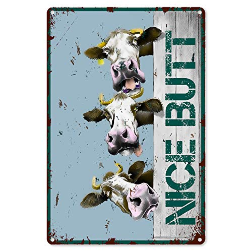 Funny Bathroom Quote Metal Tin Sign Wall Decor - Vintage Farm Cow Tin Sign for Office/Home/Classroom Bathroom Decor Gifts - Best Rustic Farmhouse Decor Gift Ideas for Women Men Friends - 8x12 Inch