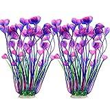 JIH Plantas de plástico para acuario, plantas artificiales altas para decoración de peceras de 15.6 pulgadas (2 piezas) (morado)