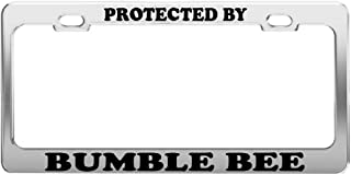 PROTECTED BY BUMBLE BEE License Plate Frame Tag Holder Car Truck Accessories
