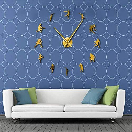Orologio da parete Decorazione da parete fai da te Badminton Sport Orologio da parete fai da te Decorazione familiare Tennis Orologio da parete senza cornice Arte Adesivo grande specchio Orologio da
