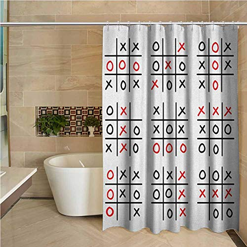 Faith Shower Curtain Xo Doodle Style Tic Tac Toe Game Set Table with X and O Letters Artistic Design Black White and Red W72 xL84
