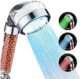Alcachofa para Ducha,Cabezal de Ducha LED 3 Colores Cambiantes Temperatura Controlada Alta Presión Rociador Iónico Negativo Doble Filtro Cloro Ahorro de Agua
