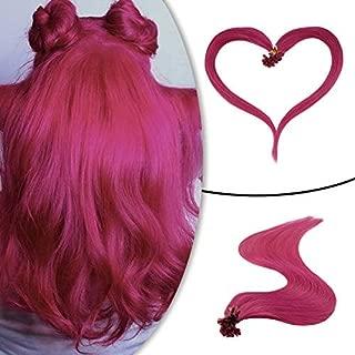 Runature U Tip Nail Hair Extensions Prebonded 20 Inches Hot Pink Color 25g 1.0g Per Strand Human Hair Extentions Pre Bonded Hair Extensions Human Hair Extentions U Tip Hair Extensions 25 Strands