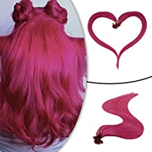 Ruanture Hot Fusion Extention Hot Pink Color U Tip Keratin Hair Extensions 14 Inches 20g 0.8g Per Strand Human Hair U Tip Fusion Hair Extensions Keratin Human Hair Extensions 25 Strands