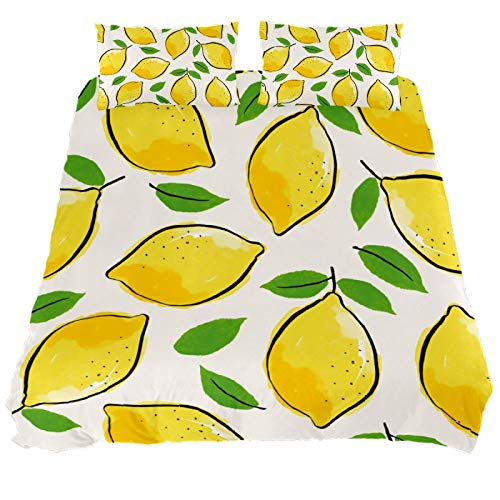 ASIGA Kids Single Duvet Cover Set 2 Pieces Printed Comforter Cover with Zipper Closure Bedding Set for Girls Boys,Yellow Lemon Leaf