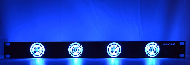 PROCOOL SL440B-E / 1U Rack Mount Exhaust Fan/Blue LED fans/DJ, Amp and Equipment racks/IT/Network Server racks/Data Center Cooling