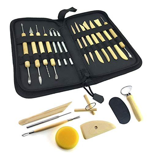 Wartoon, 22 piezas, todo en uno, herramientas de modelado de arcilla de madera Sculpey Sculpture, kit de herramientas de cerámica con estuche de almacenamiento conveniente