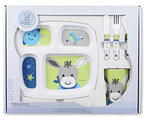 Sterntaler Set de vaisselle Erik, Assiette, tasse, cuillère, fourchette, couteau, Âge: Pour les bébés à partir de 6 mois, Bleu/Vert