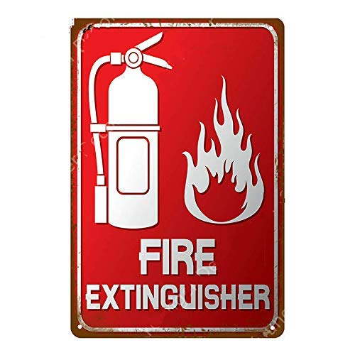 Vintage Metal Sign Fire Extinguisher Retro Poster Plaque Tin Sign Wall Decor for Kitchen Bar Pub Farm House 12x8inch