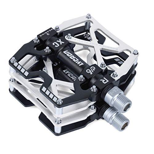 "LYCAON Fahrradpedale MTB Pedal, CNC Aluminiumlegierung rutschfeste Cr-Mo Spindel Fahrrad Pedal, 3 Lager Pedale für 9/16\"" MTB BMX Fahrrad Mountain Road Bike (Silber)"
