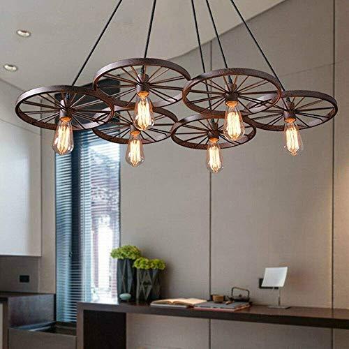 Lámpara de techo retro con forma de rueda, 3/6 ruedas, para colgar en el salón, bar, caf eacute, dining etc. (6 ruedas, bronce)