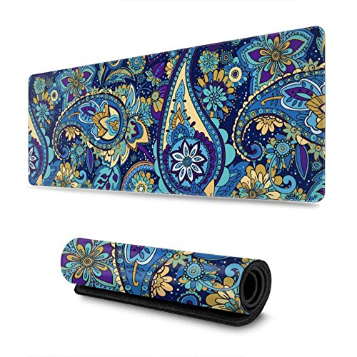 Traditional Asian Purple Bohemian Boho Paisley Flower Gaming Mouse Pad XL Extended Large Mouse Mat Desk Pad Stitched Edges Mousepad Long Non-Slip Rubber Base Mice Pad 31.5 X 11.8 Inch