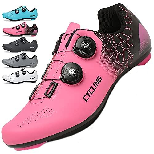 KUXUAN Zapatillas de Ciclismo Mujer Hombre Carretera SPD Bike Zapatillas de Ciclismo Spin Shoestring con Compatible SPD Look Delta Cycle Riding Cleat Zapatillas Peloton,Pink-6UK=(245mm)=39EU
