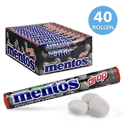 Mentos Drop chewy Dragees, drop en mint – grootverpakking met 40 rollen (38g/14 stuks per rol), pittige en aroma smaak