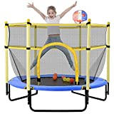 60' Trampoline for Kids with Net, 5FT Indoor Outdoor Small Toddler Trampoline with Enclosure, Basketball Hoop, Baby Small Trampoline Toys, Birthday Gifts for Kids, Boy and Girl, Age 1-8 (Blue)