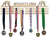 Arena Gifts Wrestling Medal Hanger Display - Paintable Wooden Awards Holder Sports Rack - Displays Up to 24 Hanging Medals or Ribbons - Sturdy Wall Mount, Easy to Install