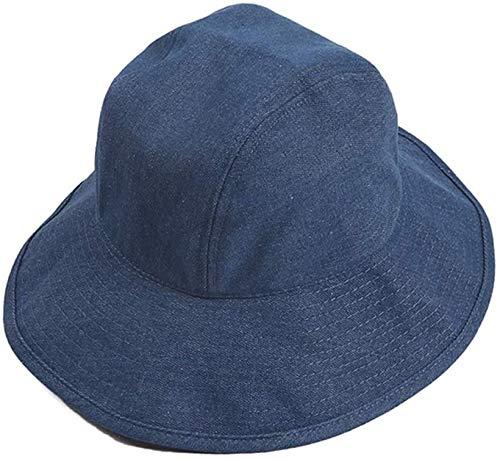 Vinteen Sombrero cuenca del dril de algodón de la vendimia Sombrero del verano protector solar Pescador sombrero femenino al aire libre ocasional del color sólido de la sombrilla del ribete del sombre