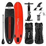 Retrospec Weekender 10' Inflatable Stand Up Paddleboard Triple Layer Military Grade PVC iSUP Bundle w/ paddle board carrying case, aluminum paddle, removable nylon fins, manual pump & cell phone case, PADDLE, PUMP & RUCKSACK, Black & Red