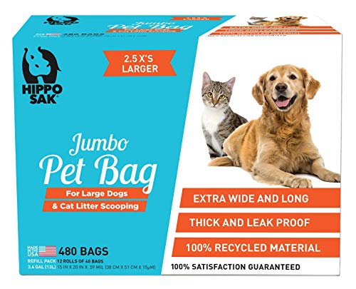 Hippo Sak® Extra Large Pet Poop Bags for Large Dogs and Cat Litter 480 Count