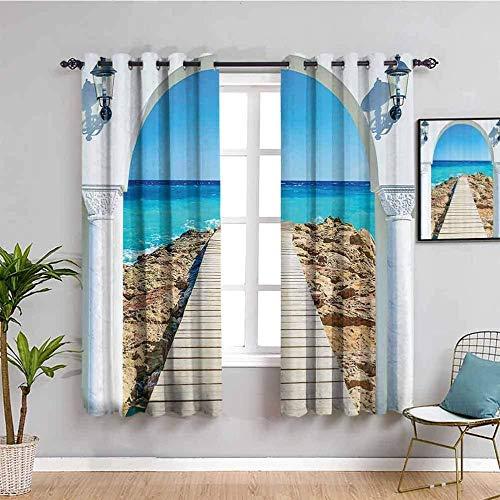 LucaSng Cortinas de Opacas - Azul Cielo Playa Paisaje - 160x160 cm - para Sala Cuarto Comedor Salon Cocina Habitación - 3D Impresión Digital con Ojales Aislamiento Térmico Cortinas