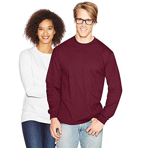Hanes Men's Long Sleeve Crewneck Beefy T-Shirt, Maroon, L