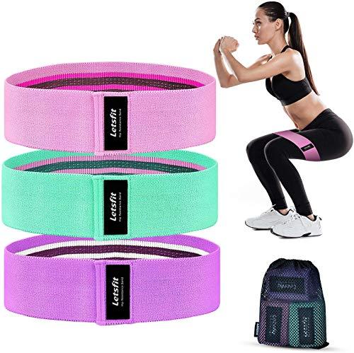 Letsfit Resistance Hip Bands Fitnessbänder Hüftwiderstandsbänder für Beine und Hüften 3 Verschiedene Stufe (45,5cm lang) für Heimfitness, Pilates, Yoga (See blau,Pink,Lila)