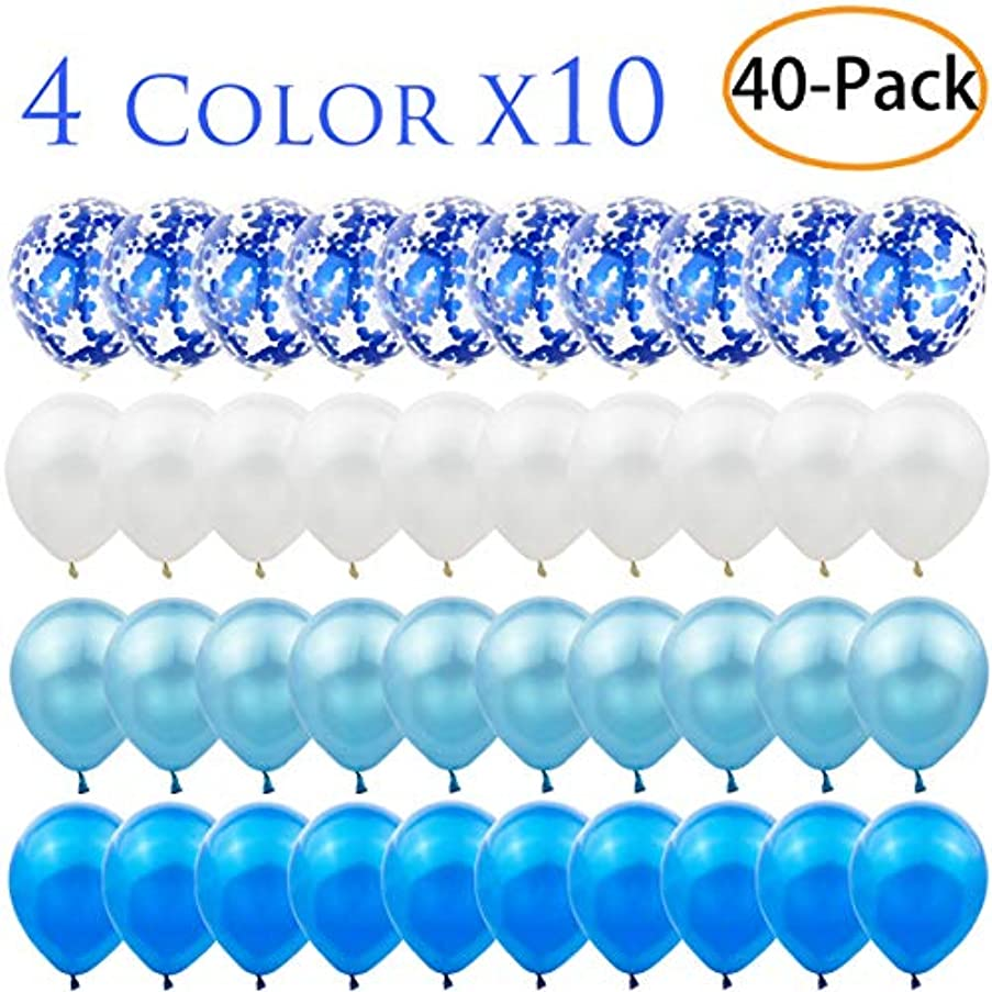 40 Pack 12 inch Blue Confetti Balloon Set Include 10 Pcs Confetti Balloons and 30 Pcs Latex Balloons for Wedding, Birthday, Baby Shower,Bridal Shower Party Decorations Favors, Blue and White
