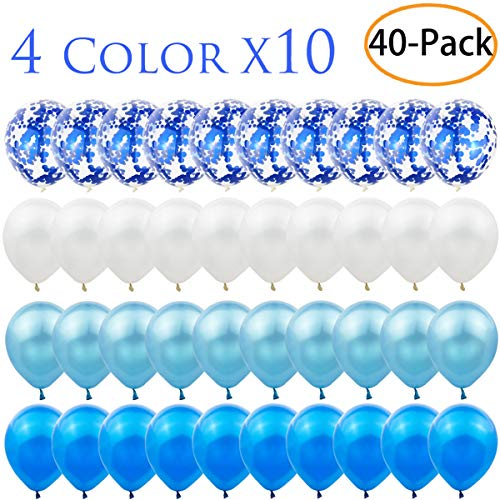 Zkptops 40 Pack 12 inch Blue Confetti Balloon Set Include 10 Pcs Confetti Balloons and 30 Pcs Latex Balloons for Wedding, Birthday, Baby Shower ,Bridal Shower Party Decorations Favors, Blue and White