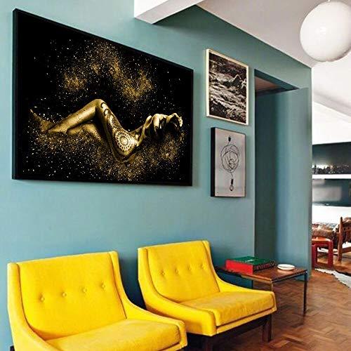 wZUN Pintura en Lienzo, Imagen de Pared, ilustración, Tatuaje Negro, Mujer, Pintura en Lienzo, Imagen artística de Pared, póster Impreso, decoración del hogar, 50x100 cm
