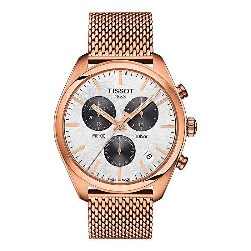 Reloj Tissot PR 100 de hombre, dorado en oro rosa con cronógrafo y malla, ref. T1014173303101.