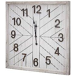 "American Art Decor Whitewashed MDF Wood Vintage Rustic Oversized Wall Clock 32"" x 32"""