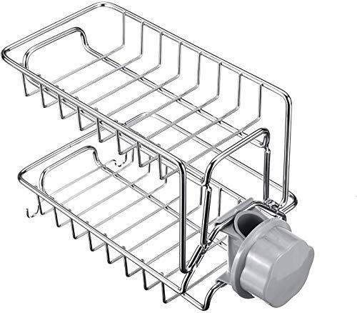 JIAJBG Plato de Secado Rack 2 Capas de Drenaje en Rack de Cocina Grifo Del Fregadero de la Esponja de Jabón de Tela de Alenamiento Y Secado Holder Diseño Moderno hermosa cocina