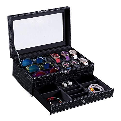 Vetrina Per Occhiali 2 strati di pelle Eyewear bagagli di caso di esposizione Ideale for occhio indossa gioielli chiave-catene Orologi Occhiali da sole Guarda Jewelry Box Può Facilmente Riporre Gli Oc