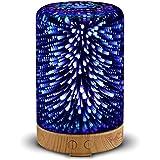 Diffusore di Aromi YWXR Ultrasuoni 100ml Diffusore Oli Essenziali Vetro 3D 7 Colori LED Grano di legno Cilindro Umidificatore Senza Acqua Arresto automatico